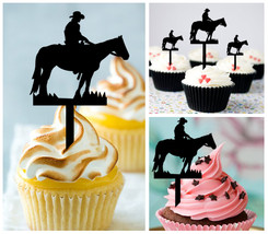 Wedding,Birthday Cupcake topper,silhouette couple-of-cowboys and horses : 10 pcs - $10.00