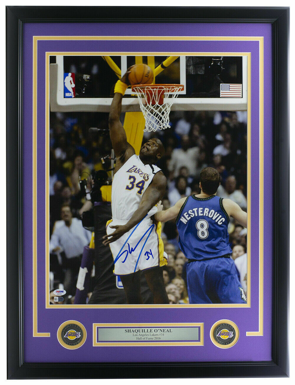Primary image for Shaquille O'Neal Signed Framed 16x20 Los Angeles Lakers Dunk Photo PSA/DNA