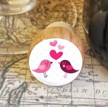 Wine Stopper, Love Birds & Hearts Handmade Wood Bottle Stopper, Valentin... - $8.86