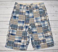 Mens Sz 30 AMERICAN EAGLE Longer Length Style Shorts Blue Madras Patchwo... - $11.04