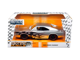 "1968 Dodge Charger Silver with Flames ""Big Time Muscle\"" 1/24 Diecast M... - $34.30"