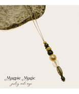 Beaded Drop Necklace: clear, cream & antique brass beads, cream leather ... - $12.00