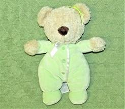 "10"" Carters Green Teddy Bear Plush Velour P Js Tan Stuffed Animal Baby Toy Soft - $18.70"