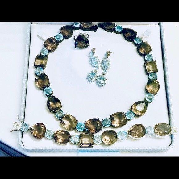 Huge 1000ct Smoky Quartz Blue Topaz 925 SS Necklace, bracelet, earrings ring set