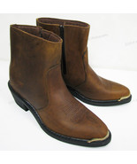 Men's Boots Cowboy Western Brown Genuine Leather Side Zipper Ankle Shoes... - $59.89