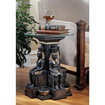Unique Furniture Round Glass Top Table Ancient Egypt Egyptian Decor Afri... - $183.95