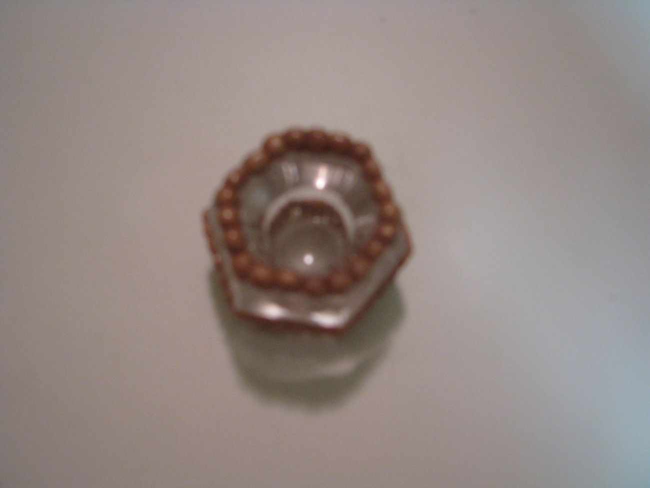 Gold Pearl Ribbon Polymer Clay Taper Candle Holder