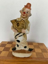 Vintage Hand Painted Bisque Porcelain French Horn Musician Clown Figurin... - $15.00