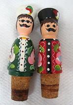 2 Russian Men in Hats Mustaches Hand Painted Wine Bottle Cork Stopper T13 - $22.28