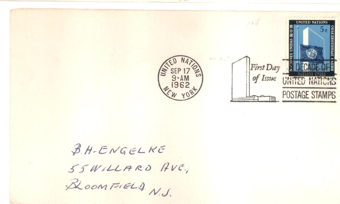 United Nations first day cover 5 cents Sep 17, 1962