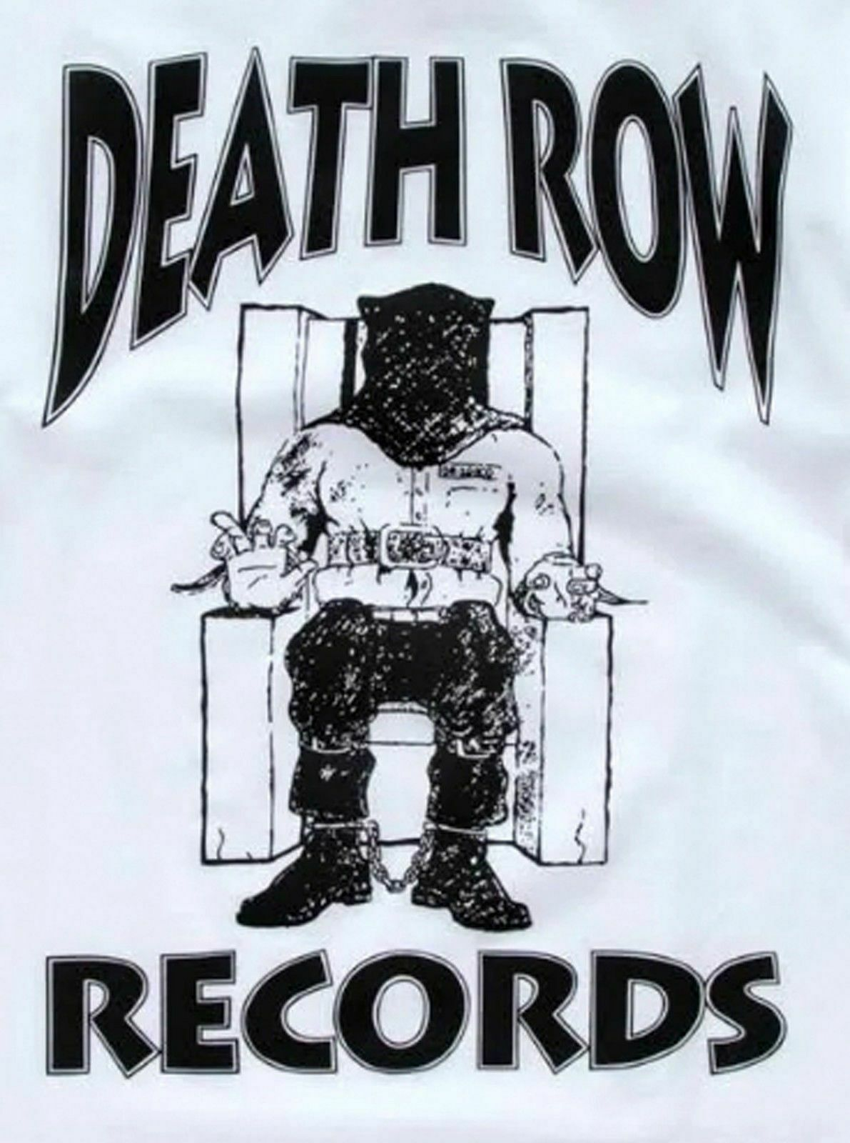 Authentic Men's Death Row Records Black Official Logo Licensed T-Shirt White S image 4
