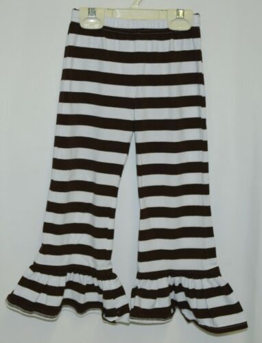 Blanks Boutique Brown White Ruffled Pants Cotton Spandex Size 4T