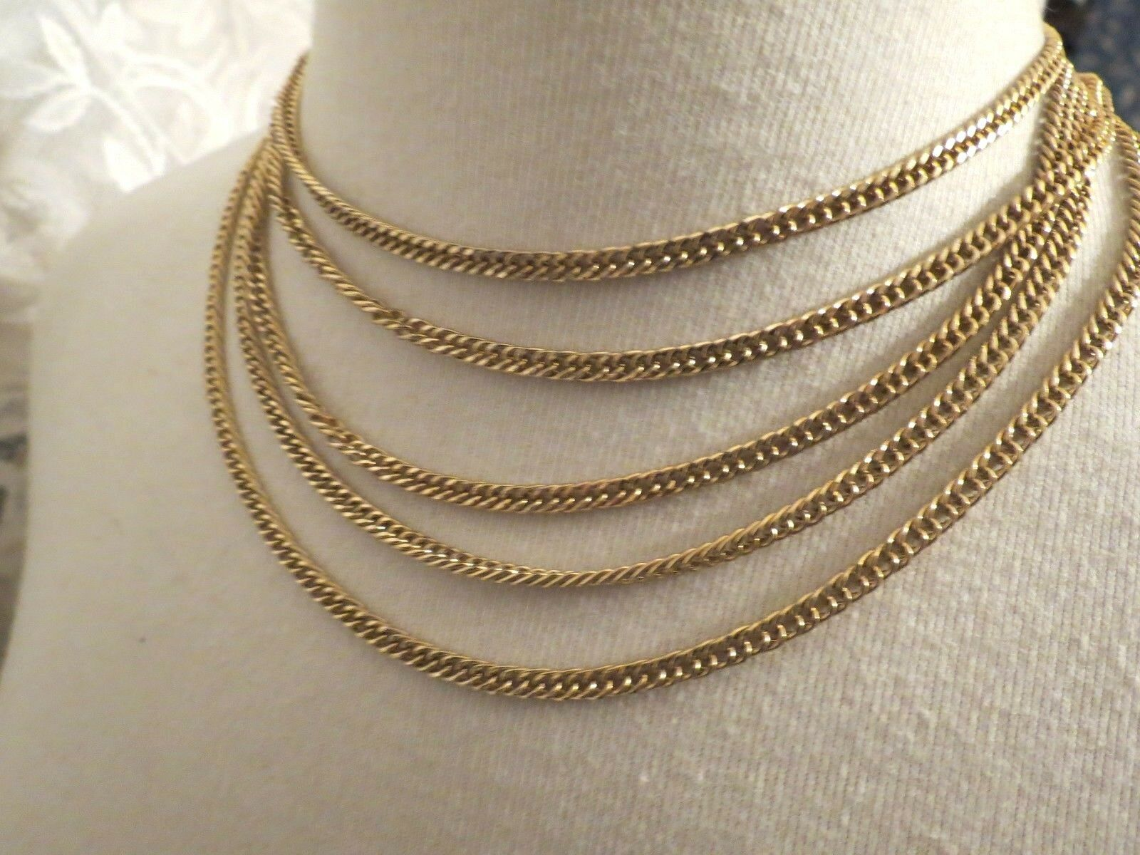 VTG Couture Trifari Necklace Mult Chain Gold Plated Designer Fancy Leaf Catch image 6