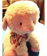 Plush Aurora Baby Lamb Soft White Fur/Pink Face, Ears, Paws/ Flowered Bo... - $14.92