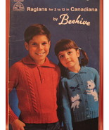 Raglan Sweater Cardigan Knitting Pattern Booklet Children - $4.99