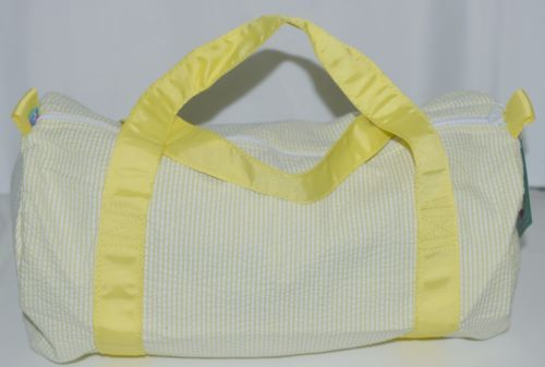 Oh Mint 1020303STRIPE Yellow and White Stripe Seersucker Medium Duffel Bag