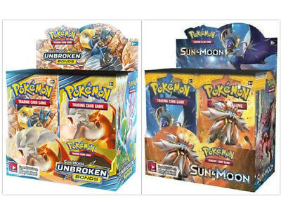 Pokemon TCG Sun & Moon Unbroken Bonds + Sun & Moon Base Set Booster Box Bundle