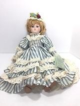 "VTG Porcelain Doll Stephanie Dynasty Collection 16"" Victorian Blonde Blu... - $33.25"