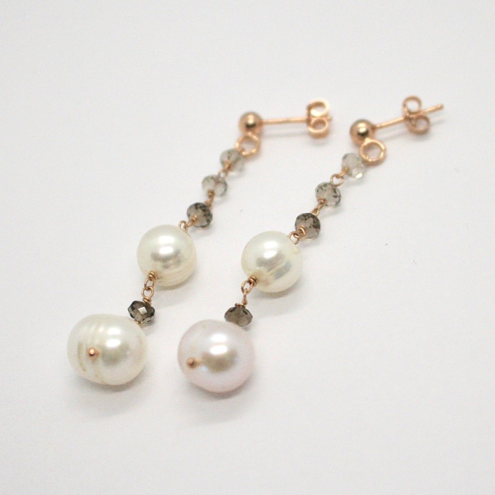 Drop Earrings in Silver 925 Laminate Rose Gold with Pearls and Smoky Quartz
