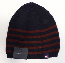 Tommy Hilfiger Blue & Burgundy Stripe Knit Beanie Skull Cap Mens One Siz... - $29.69