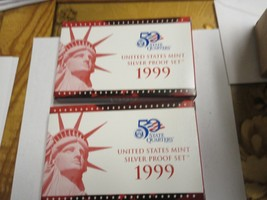 1999 , US. Mint Silver Proof Set , Lot of 2 , 9 Coin Set , NIB - $222.75