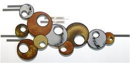 Contemporary Modern Brown Silver Circle Wood Wall Sculpture with Metal accents - $249.99