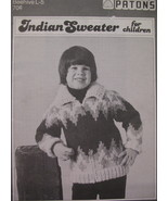 Vintage Indian Sweater Knitting Pattern Children - $6.99