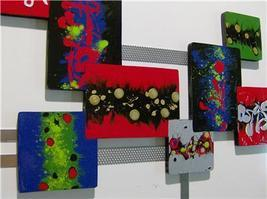 Color Crazed Modern Abstract Wood Metal Wall Sculpture 36X27 - $219.99