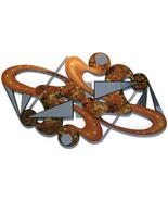 Unique Contemporary Copper Gold Abstract Art Wood Mirror n Metal Wall Sc... - $449.99