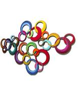 COLASSAL 4PC Vibrant Contemporary Modern painted Wooden Circles Wall Scu... - $899.99