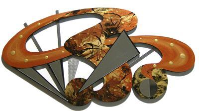 Primary image for Gorgeous Warm Abstract Wood Metal & Mirror Wall Sculpture