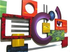FuNkY UniQue MoDeRN AbStRaCT Wood WaLL Sculpture with Metal - $325.00