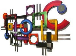 Wild Vibrant Contemporary MoDeRN ABStRaCT Art GeoMetric Wall SCULPTURE w/ Metal  - $435.00