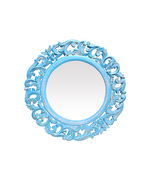 Decorative Hand Carved Round Wall Mirror in Blue  By TheKraftInc. Size :... - $69.37
