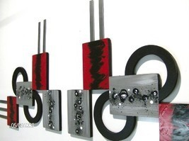 2pc Modern Geometric Abstract Art Squares & Circle Sculpture with Metal accents - $239.99
