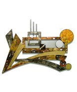 New Designer CoNTeMPoRaRY Modern GeoMetric Wood & Metal Wall Sculpture - $325.00