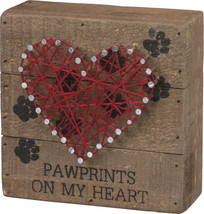 Pawprints On My Heart Pet Puppy Dog Cat Love String Art Box Sign Home Decor - $16.95