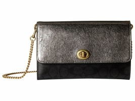 NWT COACH TURNLOCK SIGNATURE LEATHER CROSSBODY BAG CHARCOAL GRAPHITE - $115.45 CAD
