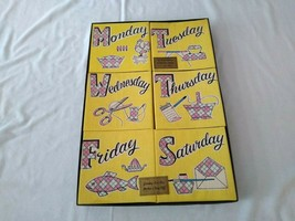 Vintage Cannon Towels Days of Week Monday - Saturday Hand Painted Joyce ... - $49.50