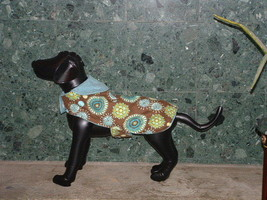 New Handmade Brown  & Blue Dog Jacket - $19.31