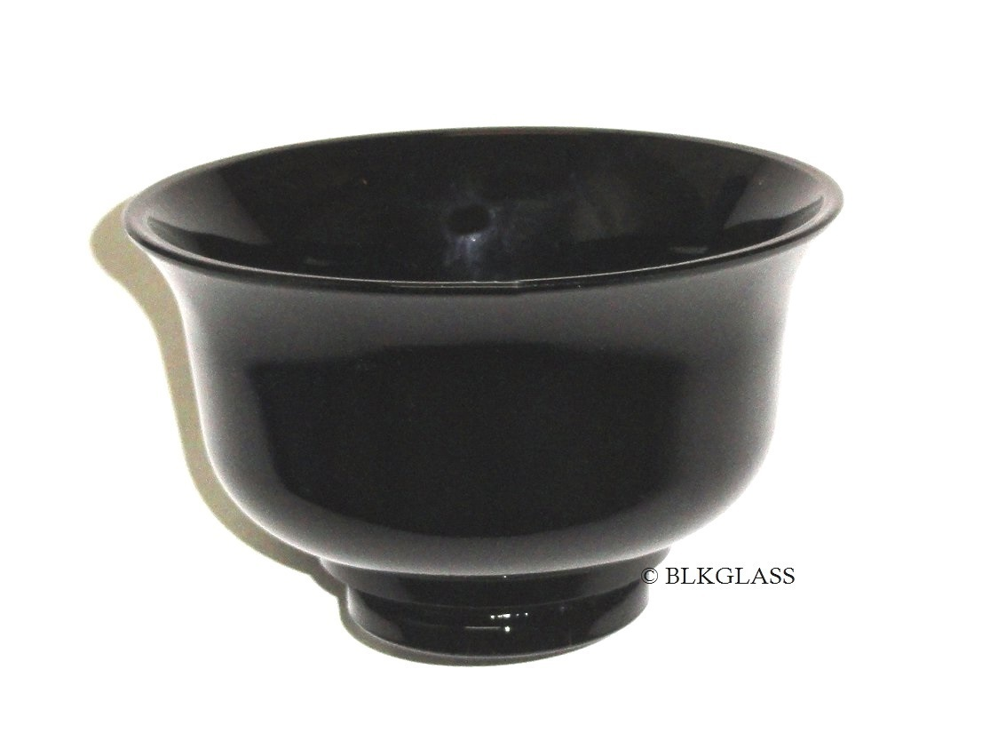 Ebony Jet Black Glass Bowl Dish - Sauce, Mayo, Nut - 1930s Vintage - Deep 2 Cups - $16.57