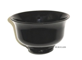 Ebony Jet Black Glass Bowl Dish - Sauce, Mayo, Nut - 1930s Vintage - Deep 2 Cups - $16.57