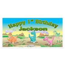 Dinosaur Land First Birthday Banner Personalized Backdrop - $22.28+