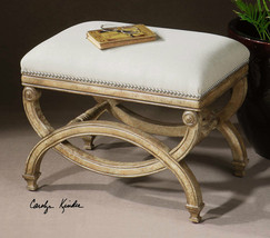 "NEW 24"" WHITE ALMOND CARVED MAHOGANY CUSHIONED ACCENT BENCH STOOL MODERN... - $393.80"