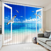 3D Beach Ocean 0211Blockout Photo Curtain Print Curtains Drapes Fabric Window UK - $145.49+