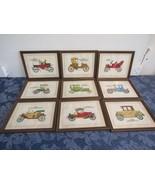 Lot of 9 Vintage Antique Car Framed Prints - Models: Thomas, Ford, Stude... - $64.37