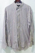 Lands End Hommes 17/34 Pinpoint Oxford Rayé Bouton Manches Longues Chemise - $9.30