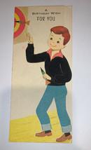 Vintage 1950's Gibson Birthday Boy Velvet Greeting Card Used - $6.92