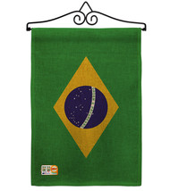 Brazil Burlap - Impressions Decorative Metal Wall Hanger Garden Flag Set... - $33.97