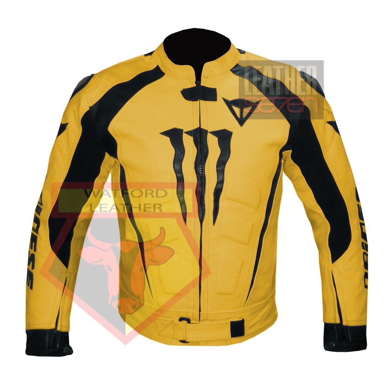 DAINESE 1010 YELLOW WATERPROOF COWHIDE LEATHER MOTORCYCLE MOTORBIKE ARMOR JACKET - $289.99